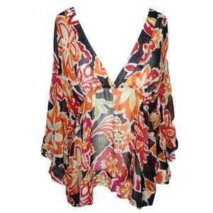 Covington Woman Floral Sheer V-neck Blouse